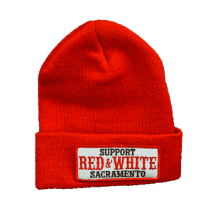 red beanie, support red and white patch
