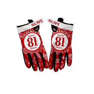 riding gloves, 81 support badge on red bandana, backs