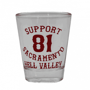 shot glass support 81 sac hell valley red text
