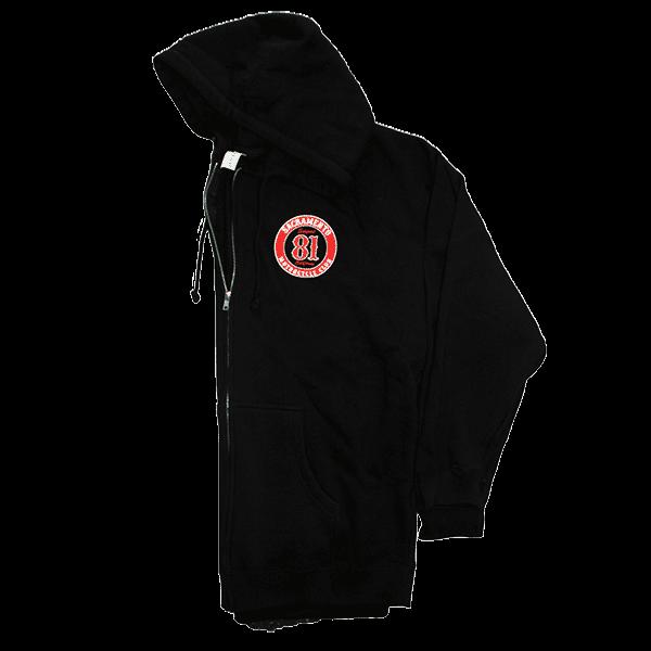 support hoody, zip up front 81 support badge