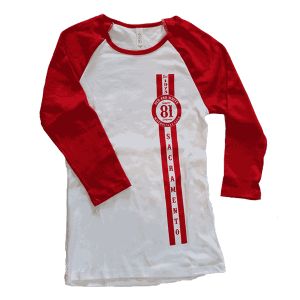 ladies baseball tee red sleeves 81 support patch