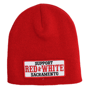 red skull cap, support red & white patch