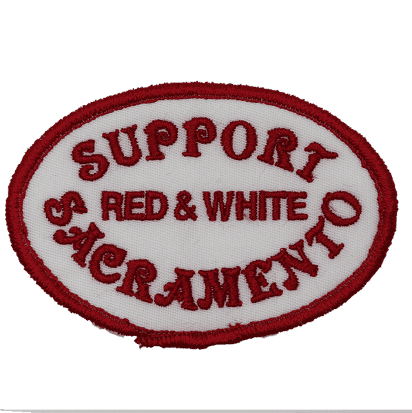 support red and white sacramento red text on white, oval patch